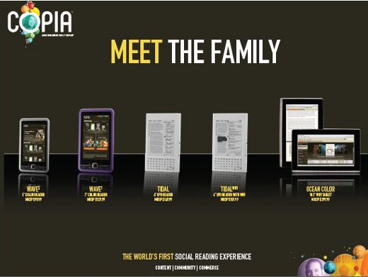 Copia eReaders and Copia Tablet