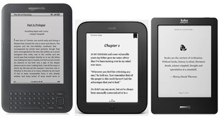 Kindle 3 vs New Nook vs Kobo Touch