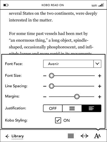 Kobo Touch Font Settings