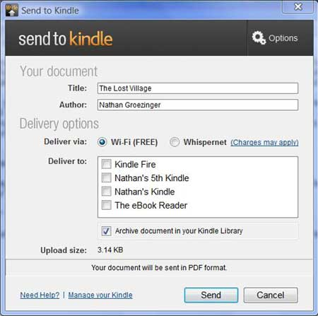 Send to Kindle Screenshot