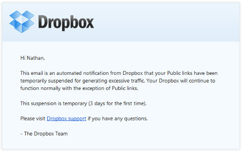 Dropbox Suspends My Public Links for Generating Excessive