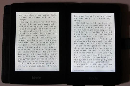 Kindle Paperwhite Screen Comparison