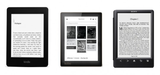 Kobo Aura, Kindle Paperwhite 2, Sony PRS-T3