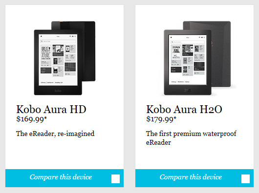 Comparing the Kobo Aura H2O and Kobo Aura HD | The eBook