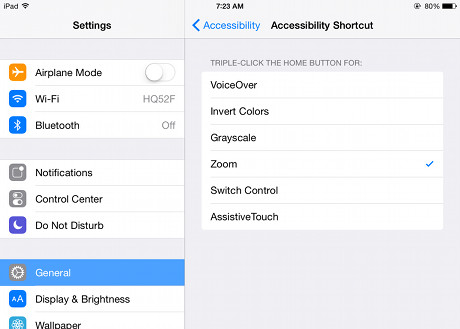 iOS zoom shortcut