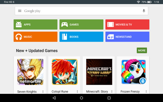 Fire HD 8 Google Play Store