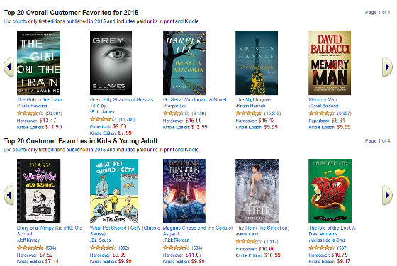List of Amazon's Best Selling Books of 2015   The eBook