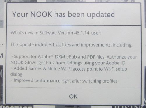 Nook GlowLight Plus Update