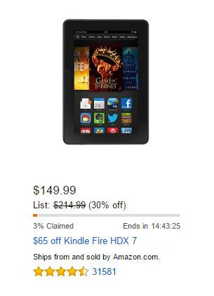 Kindle Fire HDX Lightning Deal