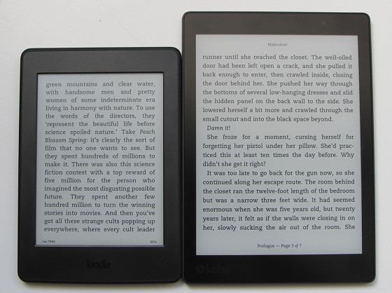 Kindle Vs Sony Reader: Kindle Vs Kobo Aura One Size Difference (Pics)