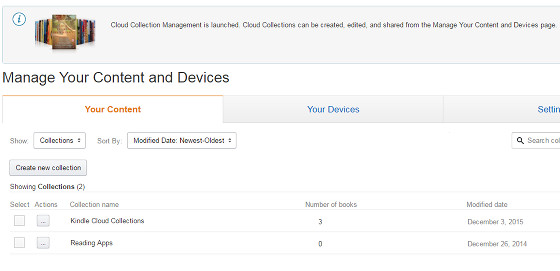 Kindle Cloud Collection Management Launches on MYCD Page