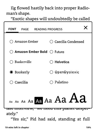Kindle Font Sizes