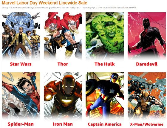 Marvel Labor Day Weekend Linewide Sale