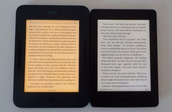 Nook Glowlight 3 vs Kindle Paperwhite 3