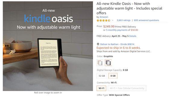 Kindle Oasis Stock